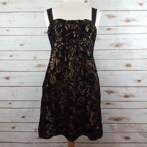 Flounce | Nordstrom Black Gold Velvet Silk Dress